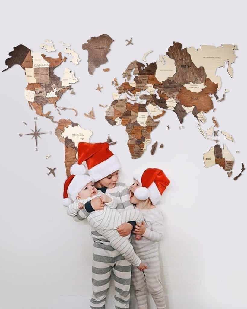 Drewniana mapa świata dla dzieci