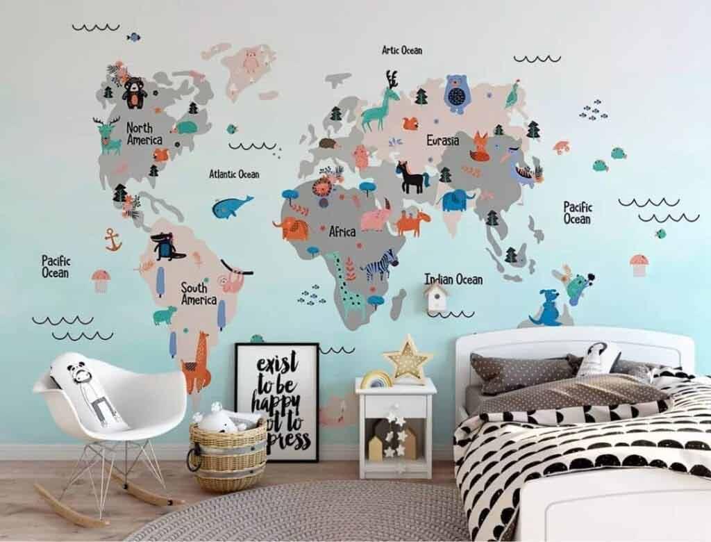 mapa świata na ścianę naklejka