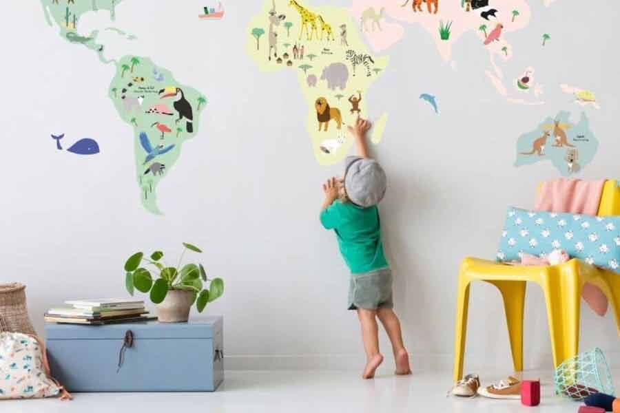 mapa dla dzieci na ścianę do pokoju naklejka